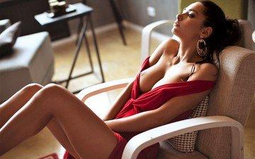 гламур, мода, красива, брюнет, сексапильная, модел