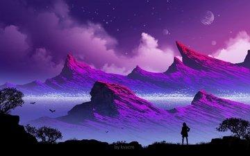 mountains, girl, silhouette