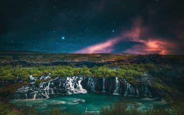 night, lake, mountains, rocks, hills, nature, shore, landscape, stars, branches, waterfall, beauty, stream, northern lights, darkness, vegetation