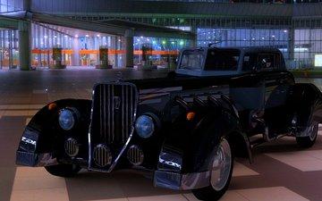 ночь, ретро, город, автомобили