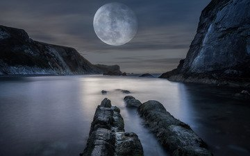 water, mountains, nature, the moon, bay, the full moon