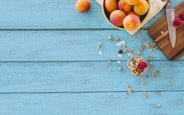 малина, фрукты, ягоды, голубой фон, нож, абрикосы