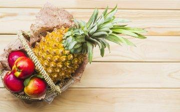 яблоки, корзинка, дерева, ананас