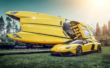 желтый, лодка, катер, ламборгини, суперкар, ламборджини авентадор
