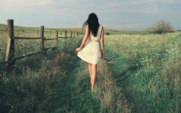 девушка, платье, со спины