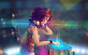 девушка, музыка, наушники, диджей