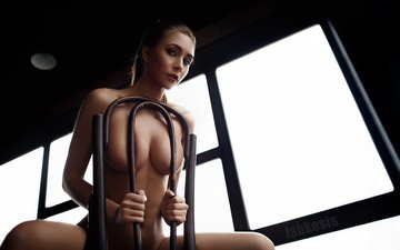 девушка, поза, взгляд, модель, тату, окно, позирует