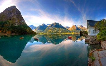 lake, mountains, boats