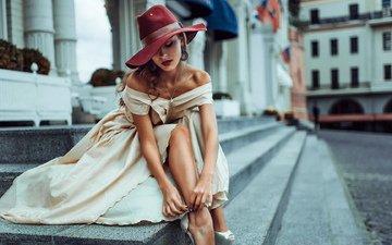 девушка, грудь, белое платье, голые плечи, девушка в шляпе