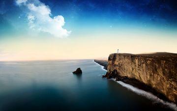 clouds, rocks, landscape, sea, open
