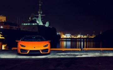 ночь, огни, корабль, авто, порт, lamborghini huracan