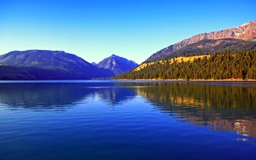 lake, mountains