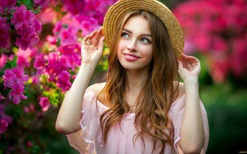 цветы, девушка, улыбка, шляпа, 1, шатенка