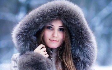 девушка, макияж, русская красавица, девушка в мехах, русская девушка, девушка в капюшоне