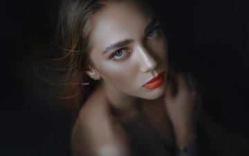 девушка, поза, взгляд, губы, макияж