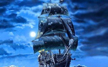 арт, корабль, пираты, чёрные, паруса, галеон, черная жемчужина