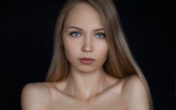 девушка, блондинка, портрет, взгляд, лицо