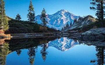 озеро, горы, отражение, калифорния, heart lake, каскадные горы, гора шаста, cascade range, калифорнийская