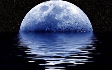 ночь, вода, луна