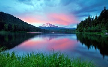 the evening, lake, forest, mountain