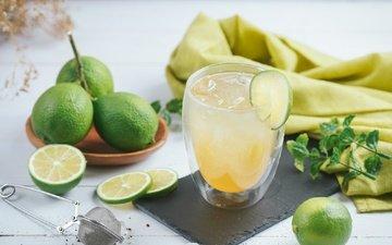 мята, напиток, лёд, лайм, цитрус, стакан, дерева, лимонад