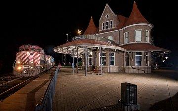 ночь, дом, поезд, платформа
