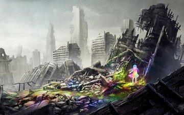 grass, water, ruins, girl, rainbow