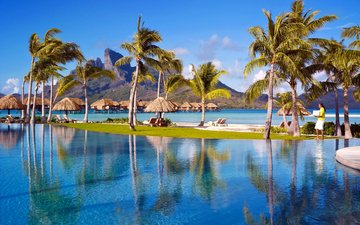 sea, resort, bungalow, tropics, bora bora