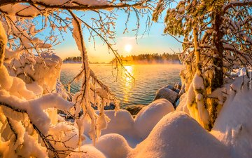 lake, snow, forest, sunset, winter