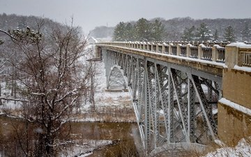 trees, river, snow, winter, bridge, michigan, river pine, cooley bridge, pine river