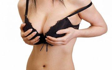девушка, грудь, нижнее белье, животик, шикарная грудь, пупочек, голые плечи, черный лифчик, точеная фигура