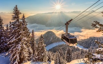 clouds, mountains, the sun, snow, nature, winter, rays, landscape, ate, forest, alps, cable car, the trailer, booth, torsten muehlbacher