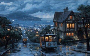 вечер, трамвай