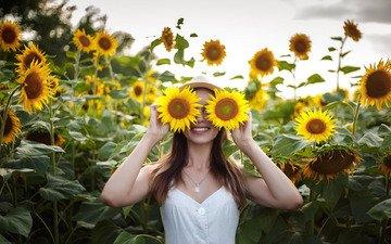 girl, smile, sunflowers, hat