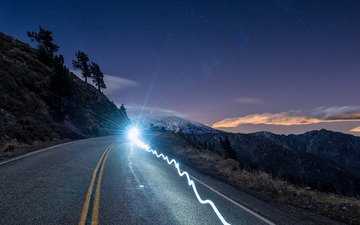 the sky, light, road, mountains, ca, national reserve, california, angeles national forest