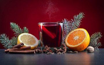 новый год, фон, напиток, корица, фрукты, стол, лимон, апельсин, стакан, рождество, пар, орех, горячий, боке, бадьян, хвойные ветки