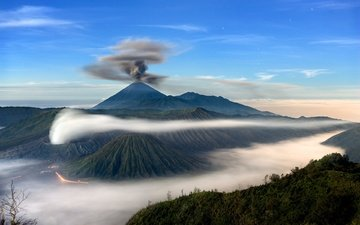 clouds, mountains, island, the volcano, indonesia