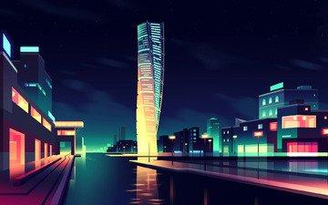 свет, арт, ночь, река, стиль, вектор, город, минимализм, набережная, архитектура, здание, здания, освещение