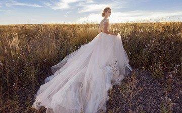 трава, стиль, платье, поле, модель, невеста