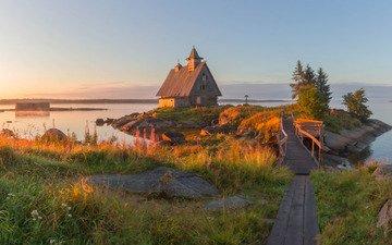 камни, мостик, пейзаж, море, утро, дом, островок, травы