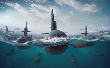 арт, море, лодки, океан, игра, субмарина, подводная лодка, дичь, transport & vehicles, game art