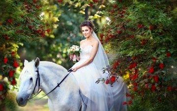 flowers, horse, girl, mood, park, dress, smile, white, bouquet, the bride, rowan, wedding