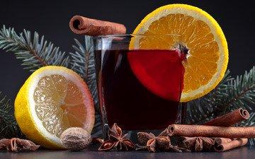 новый год, фон, напиток, корица, стол, лимон, стакан, рождество, орех, боке, бадьян, грецкий, хвойные ветки, звезда аниса