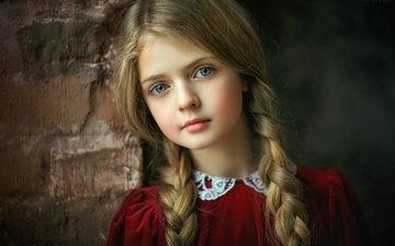 portrait, look, wall, girl, braids