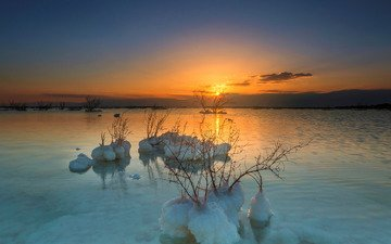 the sun, sunset, salt, the dead sea