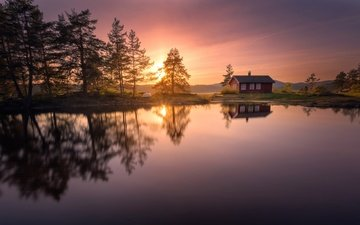 trees, lake, sunset, reflection, house, norway, ringerike