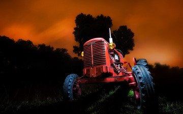 ночь, фон, трактор