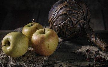 яблоки, стол, три, натюрморт