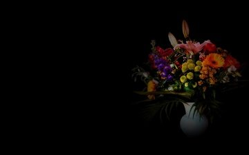flowers, background, bouquet, vase