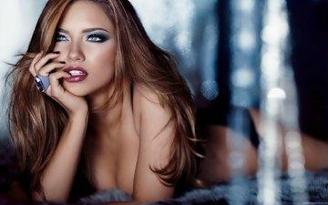 глаза, стиль, портрет, красота, блеск, грудь, волосы, губы, лицо, макияж, мода, адриана лима, обаяние, грань, волос, взор, nпортрет, прекрасное